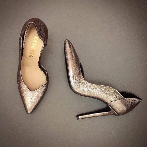 Pantofi stiletto din piele naturala cu textura metalica 0
