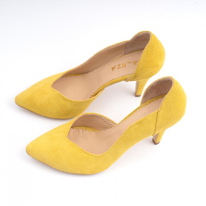 Pantofi stiletto din piele naturala galbena [1]