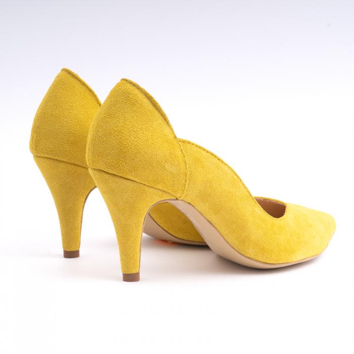 Pantofi stiletto din piele naturala galbena [2]