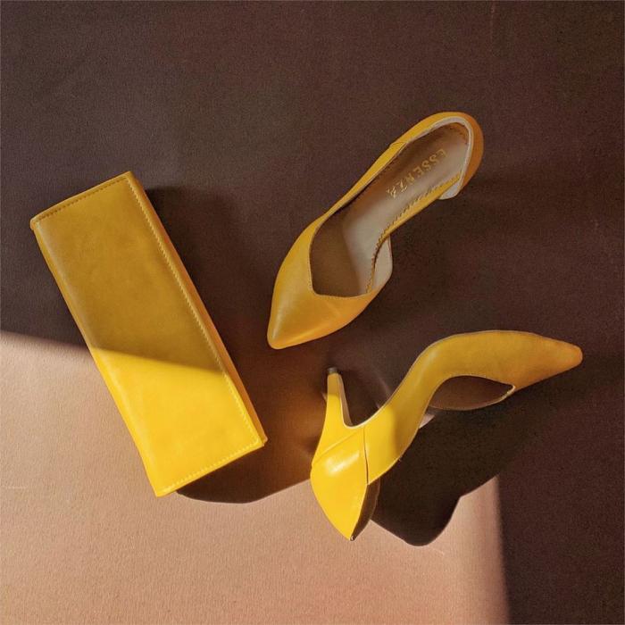 Pantofi stiletto din piele naturala galbena,cu decupaj interior si exterior intr-o linie eleganta 0