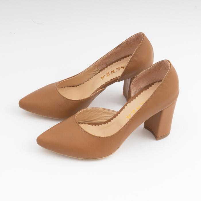 Pantofi stiletto din piele naturala maron camel, cu decupaj interior. 1