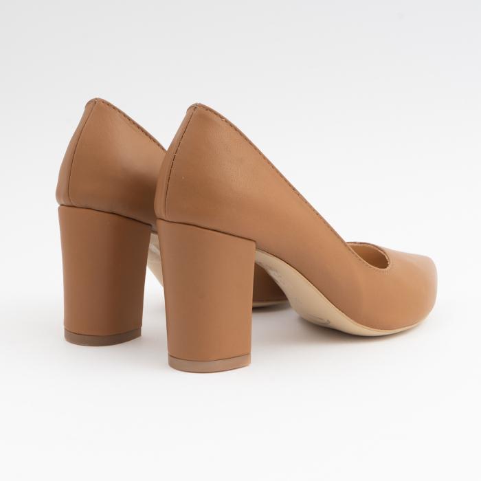 Pantofi stiletto din piele naturala maron camel, cu decupaj interior. 3