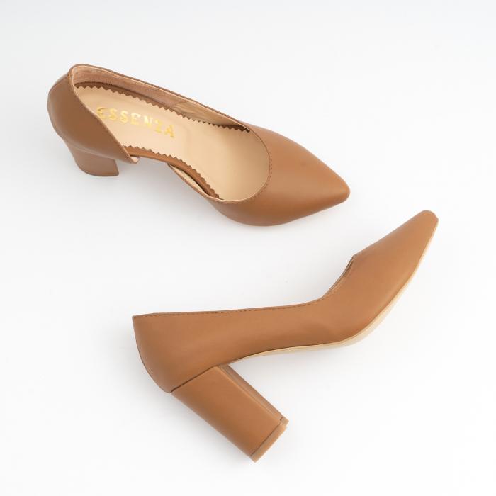 Pantofi stiletto din piele naturala maron camel, cu decupaj interior. 2