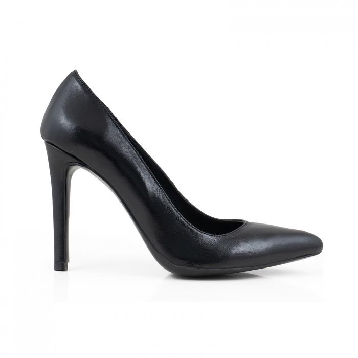 Pantofi Stiletto din piele naturala neagra 0