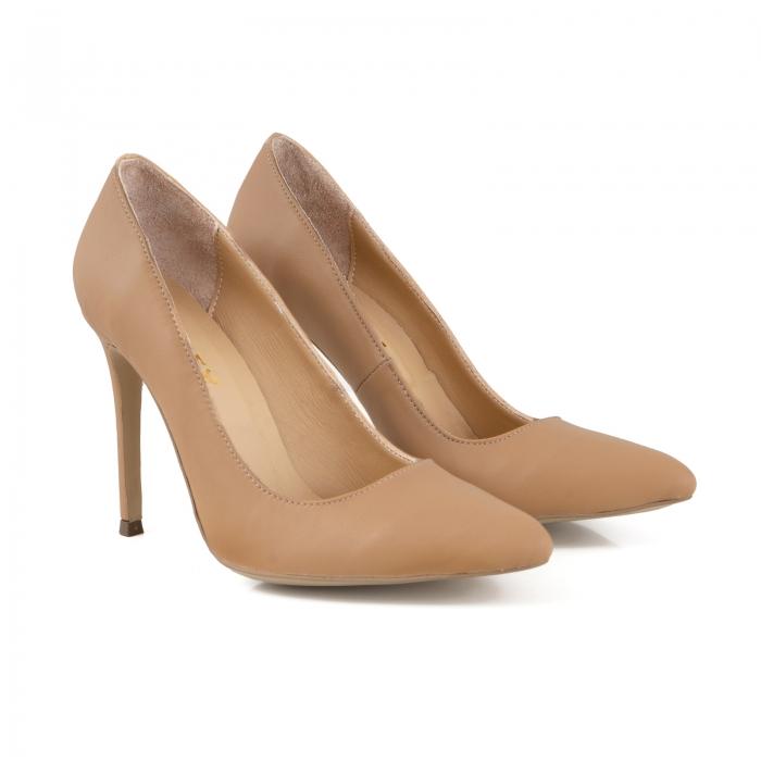 Pantofi Stiletto din piele naturala nude 1