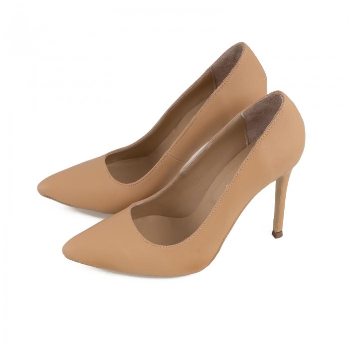 Pantofi Stiletto din piele naturala nude 2