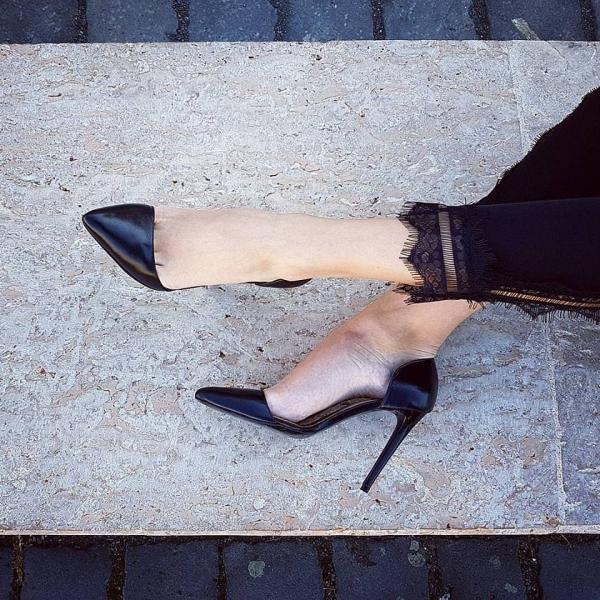 Pantofi Stiletto, din piele neagra 0