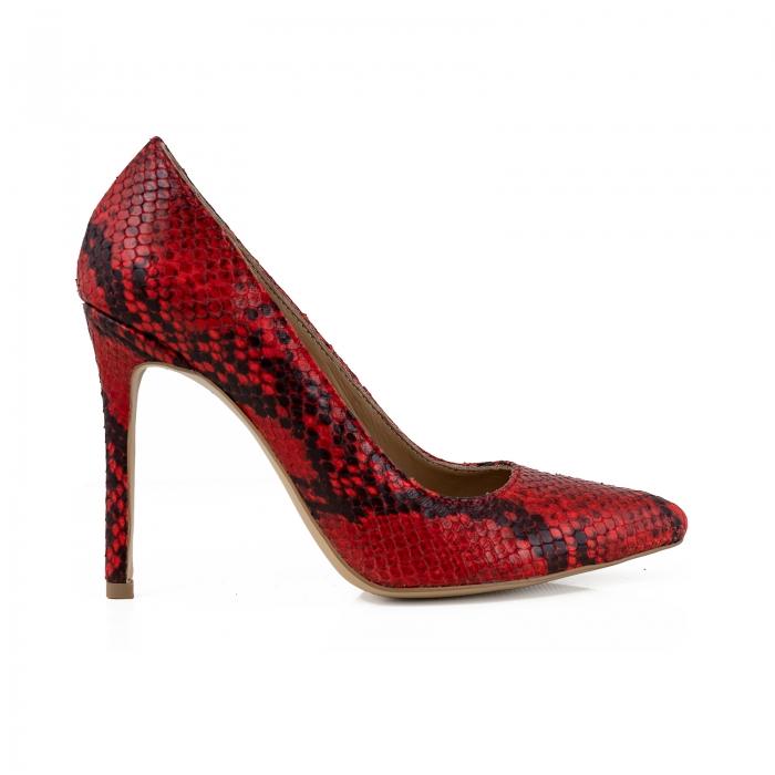 Pantofi Stiletto din piele rosie cu textura de tip sarpe 0