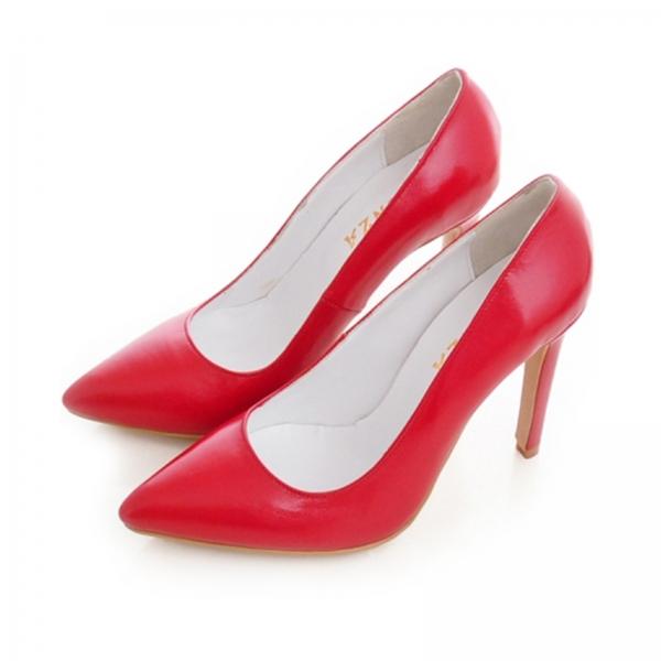 Pantofi Stiletto din piele naturala rosie 2