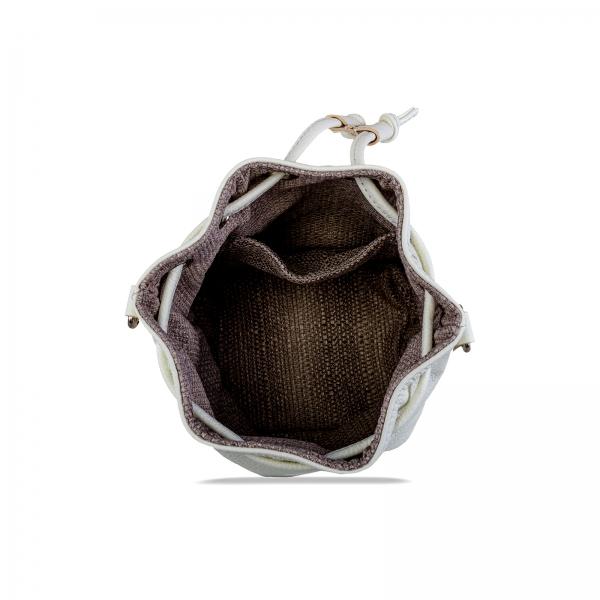 Poseta Kristy mini bucket cu bareta de mana si bareta de umar reglabila, din piele naturala alba 3