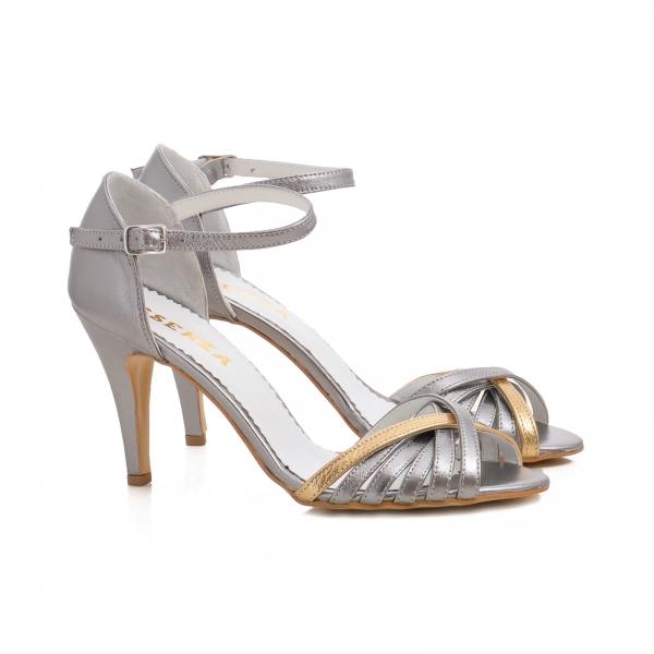 Sandale cu barete din piele argintiu platina 1