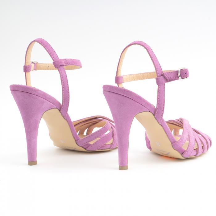 Sandale cu barete, din piele intoarsa roz-lila 3