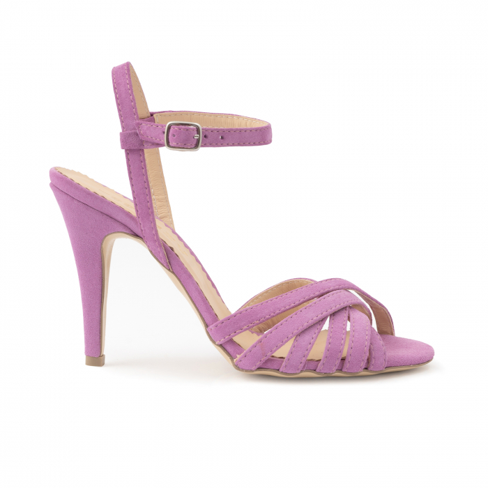 Sandale cu barete, din piele intoarsa roz-lila 0