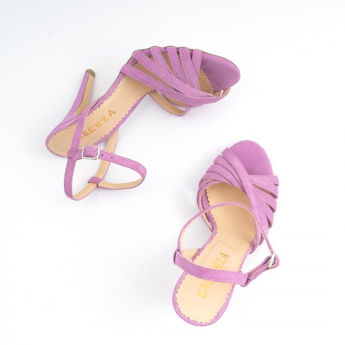 Sandale cu barete, din piele intoarsa roz-lila 4