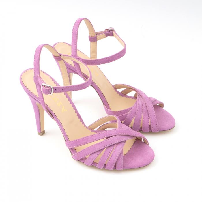 Sandale cu barete, din piele intoarsa roz-lila 2