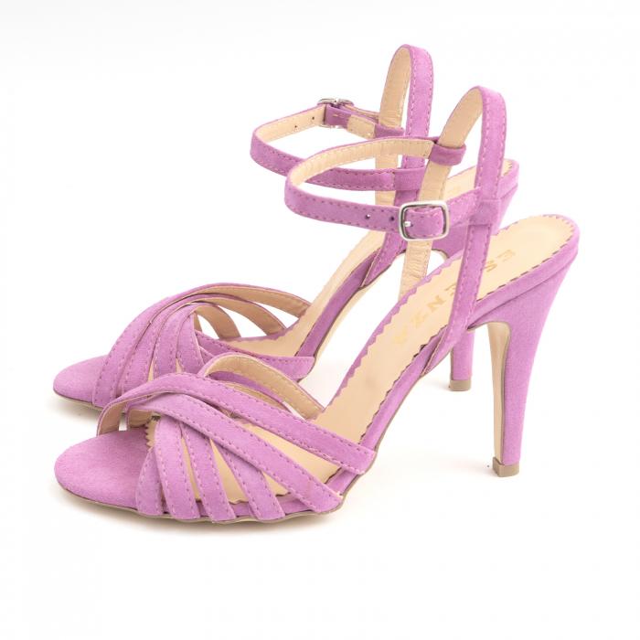 Sandale cu barete, din piele intoarsa roz-lila 1