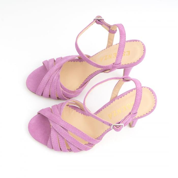 Sandale cu barete, din piele intoarsa roz-lila 5