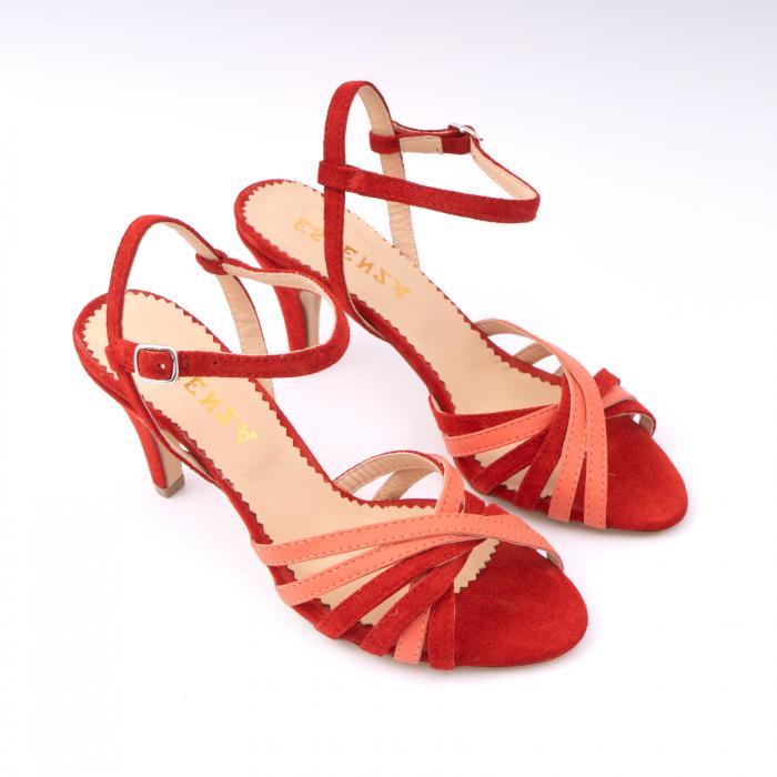 Sandale cu barete, din piele intoarsa rosie si piele corai 2