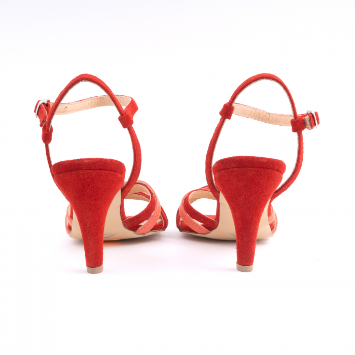 Sandale cu barete, din piele intoarsa rosie si piele corai 4