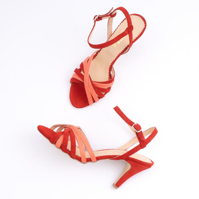 Sandale cu barete, din piele intoarsa rosie si piele corai 3