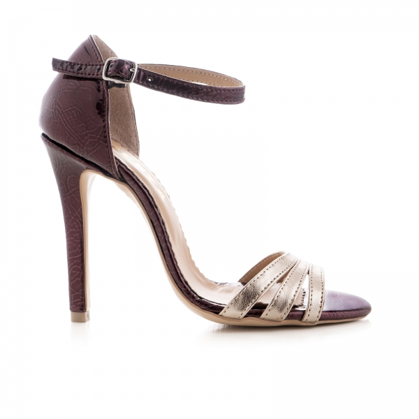 Sandale cu barete, din piele lacuita visinie si piele laminata auriu pal 0