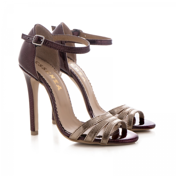Sandale cu barete, din piele lacuita visinie si piele laminata auriu pal 1