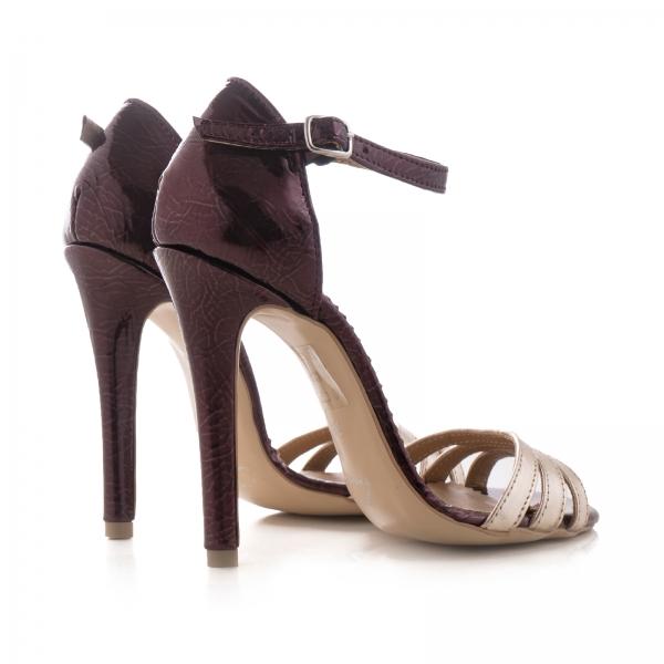 Sandale cu barete, din piele lacuita visinie si piele laminata auriu pal 2