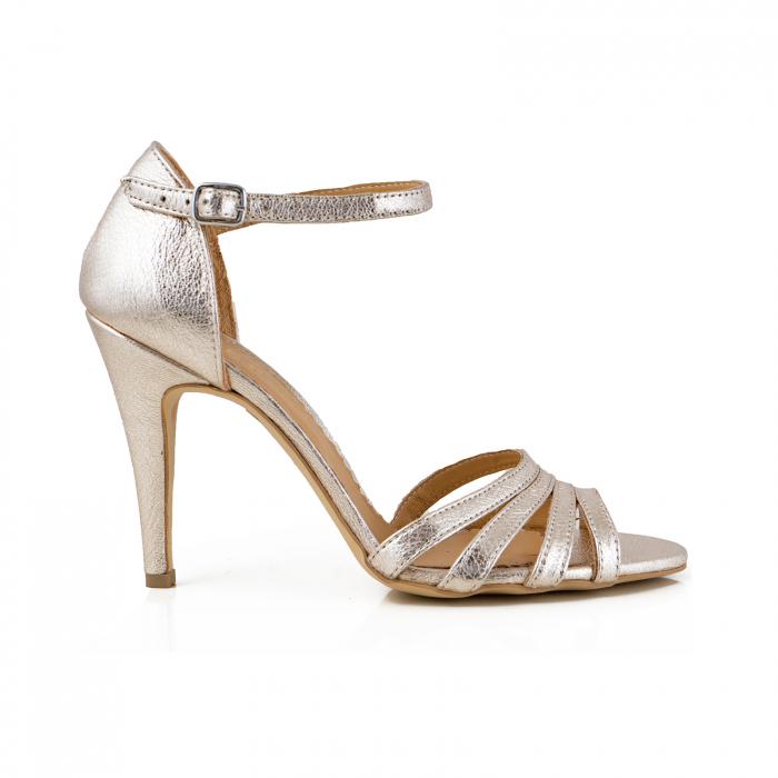Sandale cu barete, din piele laminata argintie 0