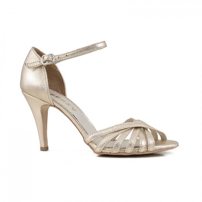 Sandale cu barete din piele laminata auriu pal 0