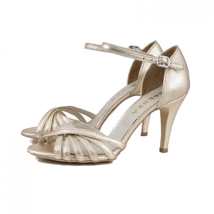Sandale cu barete din piele laminata auriu pal 1