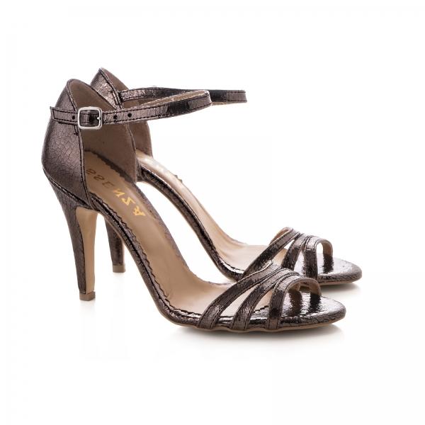 Sandale cu barete, din piele laminata bronz [1]