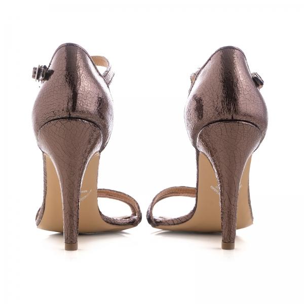 Sandale cu barete, din piele laminata bronz [3]