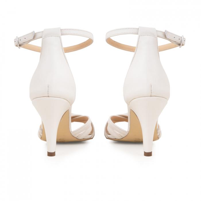Sandale cu barete, din piele naturala, alb unt. 7