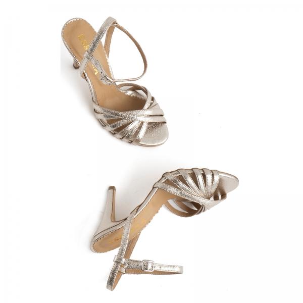 Sandale cu barete, din piele naturala auriu pal 3