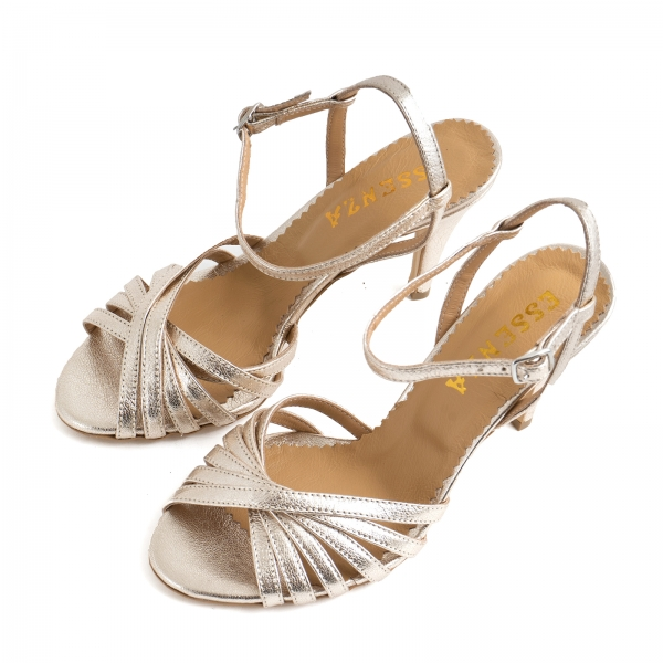 Sandale cu barete, din piele naturala auriu pal 2