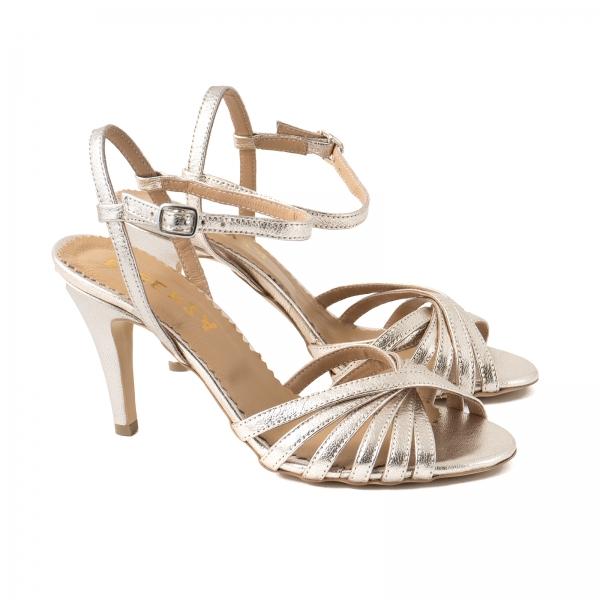 Sandale cu barete, din piele naturala auriu pal 1