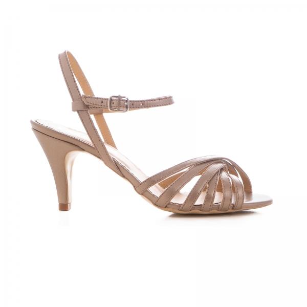Sandale cu barete, din piele naturala bronz sidef [0]