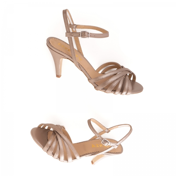 Sandale cu barete, din piele naturala bronz sidef [2]