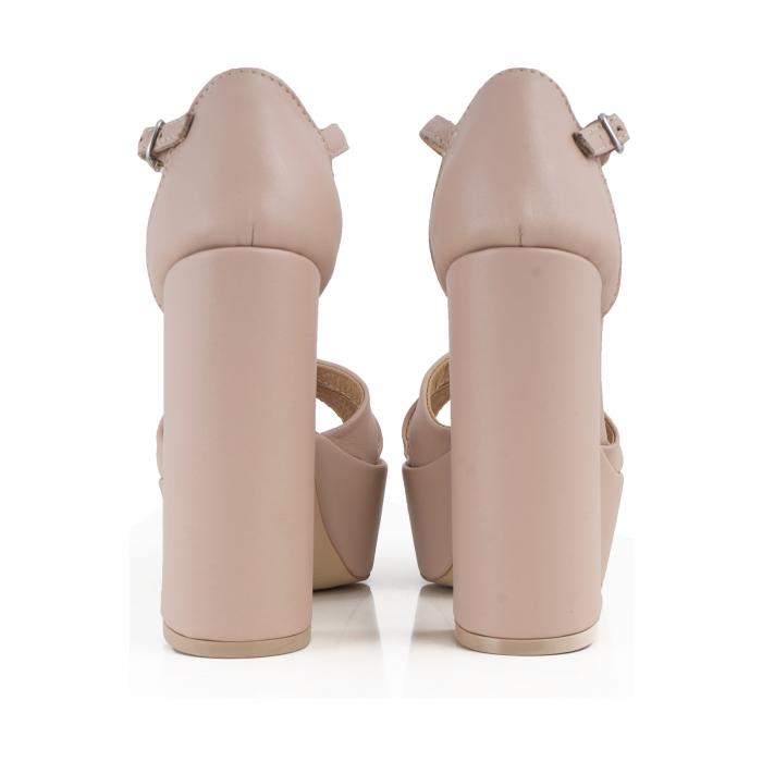 Sandale cu barete, din piele naturala nude-rose 2
