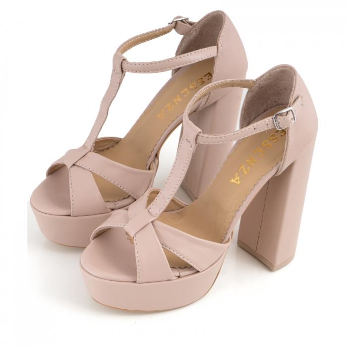 Sandale cu barete, din piele naturala nude-rose 1