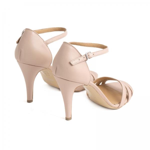 Sandale cu barete, din piele naturala nude roze 2