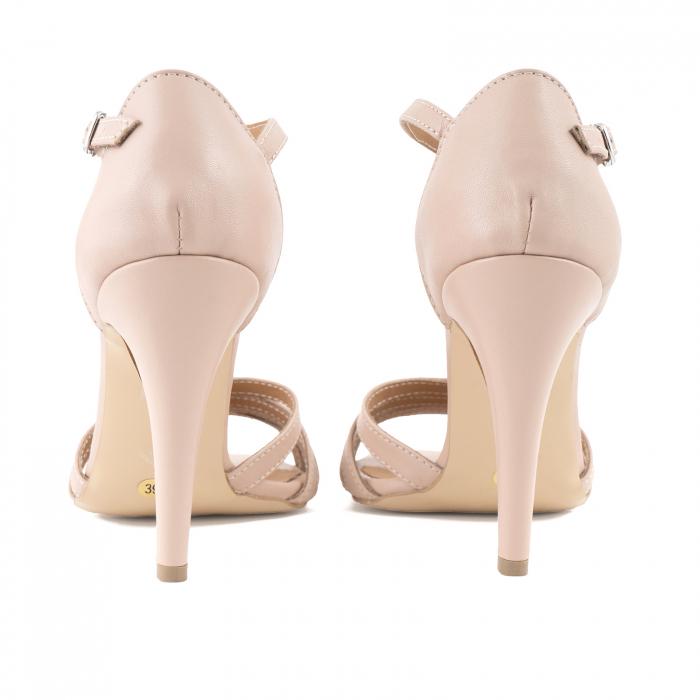 Sandale cu barete, din piele naturala nude roze 3