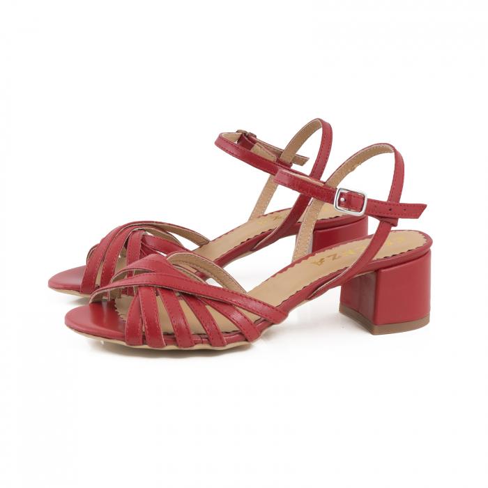 Sandale cu barete, din piele naturala rosie 1