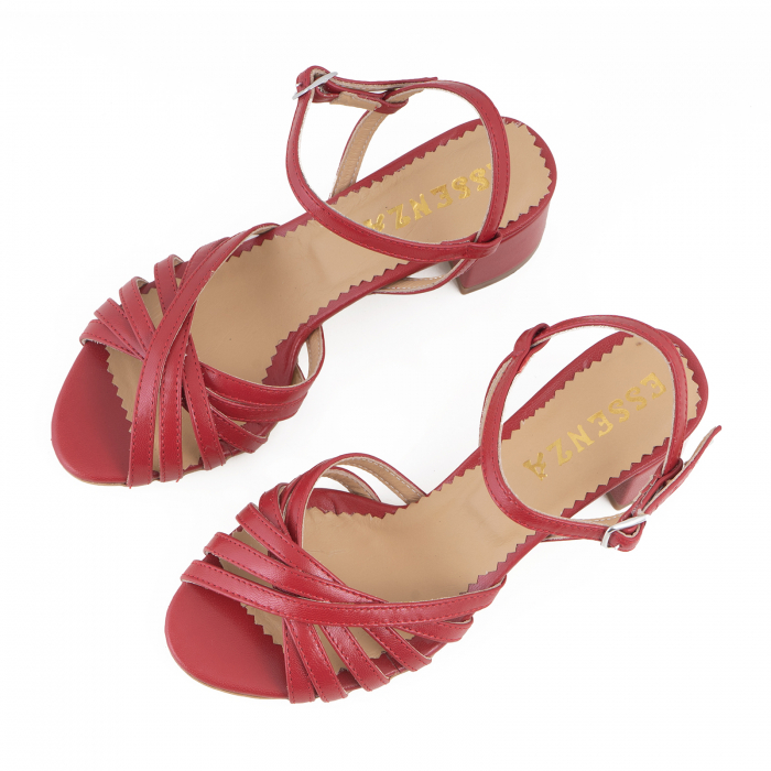 Sandale cu barete, din piele naturala rosie 2