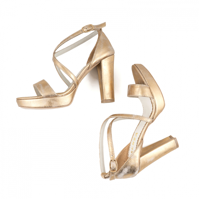 Sandale cu barete in x, din piele laminata, auriu ptina 2