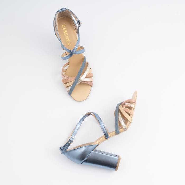 Sandale cu barete multicolore din piele albastra , nude auriu si auriu roze 3