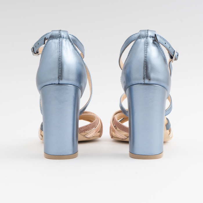Sandale cu barete multicolore din piele albastra , nude auriu si auriu roze 2