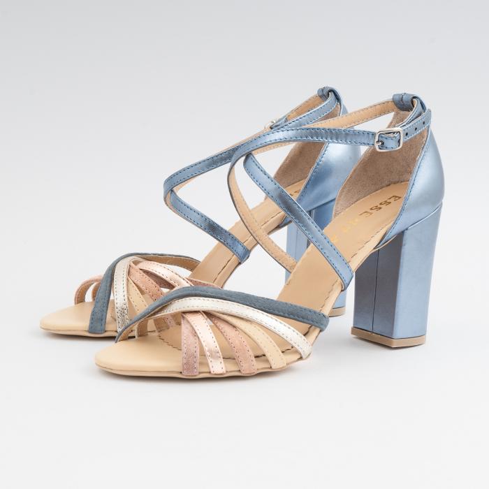 Sandale cu barete multicolore din piele albastra , nude auriu si auriu roze 1