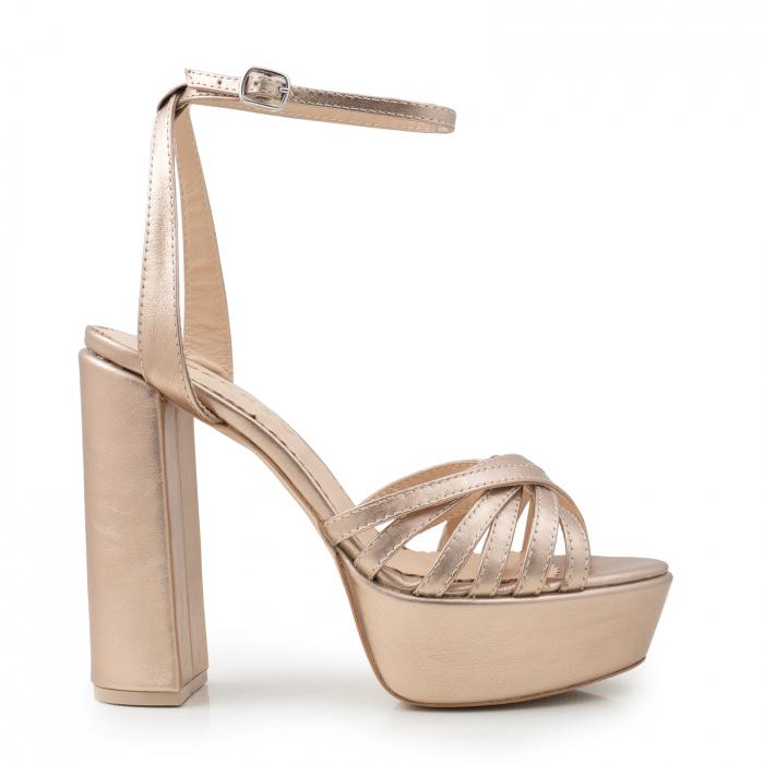 Sandale cu barete subtiri, din piele laminata aurie 0