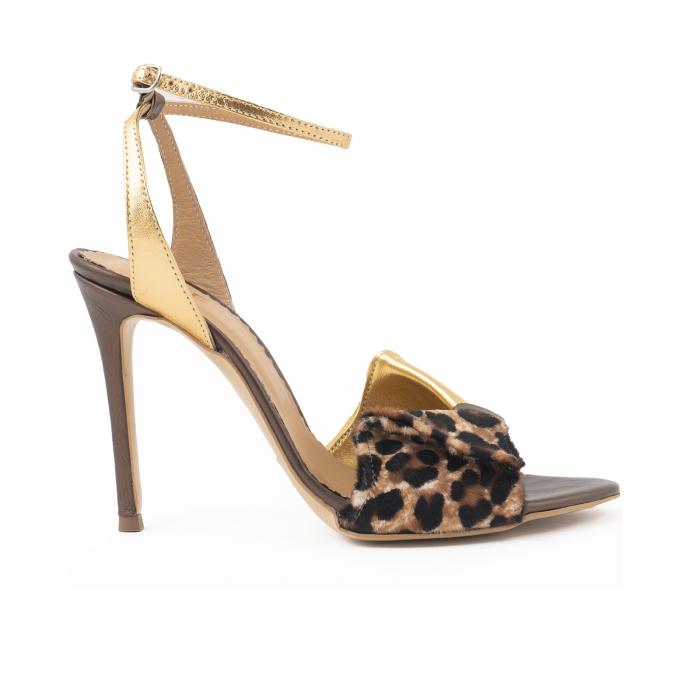 Sandale cu funda, din piele laminata aurie, piele broz sidef si piele de ponei cu animal print [0]